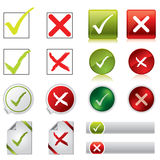 Tick And Cross Stickers, Buttons, And Symbols Royalty Free Stock Image
