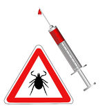 Tick animal sign injection isolated Stock Image