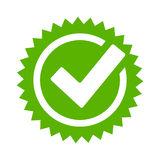 Tick approval star vector icon. On white background royalty free illustration