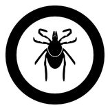 Tick black icon in circle. Vector illustration isolated Stock Image