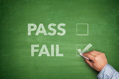 Tick boxes for Pass or Fail on blackboard Stock Photography