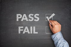 Tick boxes for Pass or Fail on blackboard Royalty Free Stock Image