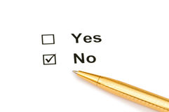 Tick boxes with Yes and No options Royalty Free Stock Photography