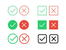 Tick check mark and decline cross vector icons for internet buttons Stock Images