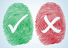 Tick and Cross. Right and Wrong - Tick and Cross on the thumbprint Royalty Free Stock Images