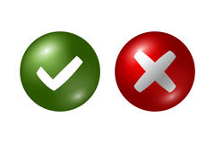 Tick and cross big set. Tick and cross signs. Green checkmark OK and red X icons, isolated on white background. Marks graphic design. Circle symbols YES and NO Royalty Free Stock Image