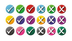 Tick and cross. In blue, red, green, purple, pink and black Royalty Free Stock Image