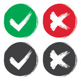 Tick and cross brush signs. Green checkmark OK and red X icons, isolated on white background. Simple marks graphic design. Symbols Stock Image