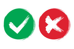 Tick and cross brush signs. Green checkmark OK and red X icons, on white background. Simple marks graphic design. Symbols stock illustration