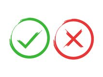 Tick and cross brush signs. Green checkmark OK and red X icons, isolated on white background. Simple marks graphic Royalty Free Stock Images