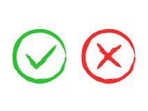Tick and cross brush signs. Green checkmark OK and red X icons, isolated on white background. Simple marks graphic Royalty Free Stock Photos
