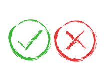 Tick and cross brush signs. Green checkmark OK and red X icons, isolated on white background. Simple marks graphic Royalty Free Stock Photo