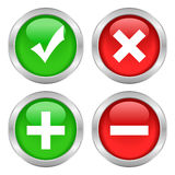 Tick cross button Stock Images