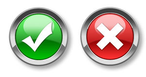 Tick & cross buttons. Two icons&buttons - agree and disagree Stock Images