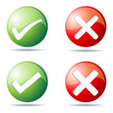 Tick and cross buttons. Illustration of tick and cross buttons on white background Royalty Free Stock Photos