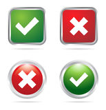 Tick and Cross buttons. Illustration of tick and Cross buttons in green and red colors vector illustration