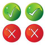 Tick And Cross Buttons. Vector illustration of tick and cross buttons on a white background Stock Photo