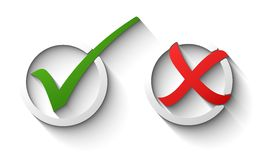 Tick and cross. 3D icons vector Royalty Free Stock Photography