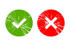 Tick and cross grunge signs Royalty Free Stock Photo