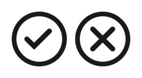 Tick and cross icon stock illustration