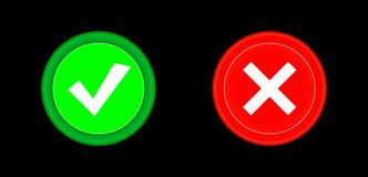 Tick, cross icon set red and green circle 3D button . Add, cancel, or the plus and minus signs on buttons or circles icon isolated. On black background. Vector Royalty Free Stock Photo