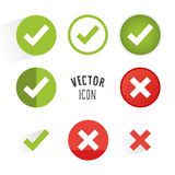 Tick and cross icon set. Royalty Free Stock Photos