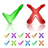 Tick and Cross Icons. Glass shiny Tick and Cross Icons. Vector illustration Stock Images