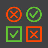 Tick and cross icons Stock Photo