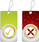 Tick and cross labels Royalty Free Stock Images