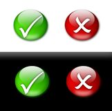 Tick and cross mark buttons stock images