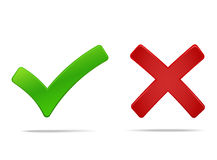 Tick and cross mark. Yes no symbols green an red. Vector illustration, you can easily change the color and size Stock Photo