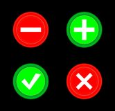 Tick, cross, plus, minus icon set red and green circle 3D button . Add, cancel, or the plus and minus signs on buttons or circles Stock Image