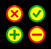 Tick, cross, plus, minus icon set red and green circle 3D button . Add, cancel, or the plus and minus signs on buttons or circles. Icon isolated on black Stock Photos