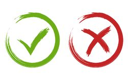 Tick and cross signs. Green and red checkmark vector. Tick and Cross Signs. Hand drawn Grunge Green checkmark OK and red X, Painted with Brush symbols YES and NO Royalty Free Stock Photography
