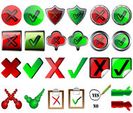 Tick and cross signs right and wrong button signs  Stock Images