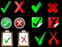 Tick and cross signs right and wrong signs  Royalty Free Stock Photos