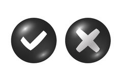 Tick cross signs set Stock Images
