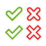 Tick and cross signs simple Royalty Free Stock Photography