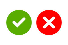 Tick and cross signs simple. Tick and cross signs. Green checkmark OK and red X icons, isolated on white background. Simple marks graphic design. Circle symbols Royalty Free Stock Image