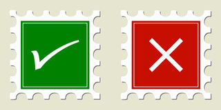 Tick & Cross Stamps Stock Photography
