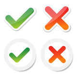 Tick and cross sticker Stock Image