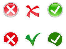 Tick and Cross symbols. Tick and cross stickers, buttons, and symbols Stock Images