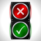 Tick cross symbols on traffic light Royalty Free Stock Photography
