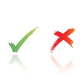 Tick and cross vector. Hand written tick and cross in  form. with clipping path Royalty Free Stock Images