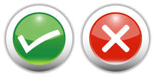 Tick & Cross Web Buttons Royalty Free Stock Photos