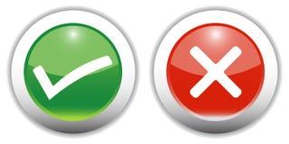 Tick & Cross Web Buttons Royalty Free Stock Photos