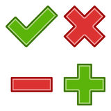 Tick Cross Yes No Flat Icons on White vector illustration