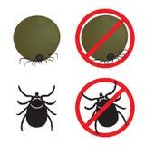Tick flea and Stop Tick flea sign symbols vector design Royalty Free Stock Photos
