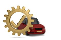 Tick with gear and car on white background. 3D illustration. Tick with gear and car on white background. 3D illustration Royalty Free Illustration