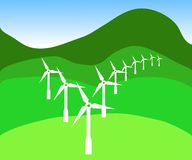 A tick for green energy. Wind turbines in the shape of a tick Royalty Free Stock Photo